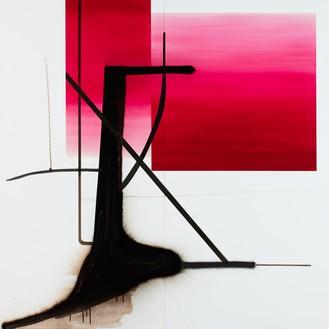 Albert Oehlen, Untitled (Baum 79), 2016 Oil on Dibond, 98 ½ × 98 ½ inches (250 × 250 cm)© Albert Oehlen. Photo: Stefan Rohner