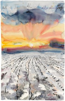 Anselm Kiefer, aller Tage Abend, aller Abende Tag (The Evening of All Days, the Day of All Evenings), 2014 Watercolor on paper, 42 ⅛ × 29 ¾ inches (107 × 75.5 cm)© Anselm Kiefer. Photo: Georges Poncet