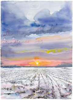 Anselm Kiefer, aller Tage Abend, aller Abende Tag (The Evening of All Days, the Day of All Evenings), 2014 Watercolor on paper, 33 × 24 ½ inches (83.6 × 62.3 cm)© Anselm Kiefer. Photo: Charles Duprat