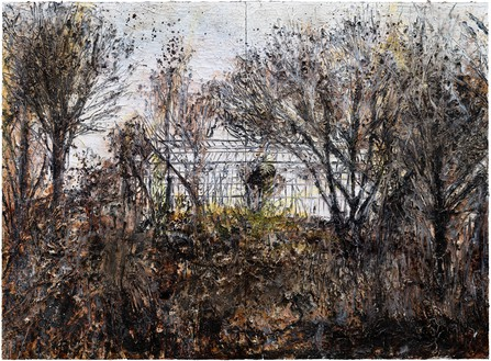 Anselm Kiefer, des Malers Atelier (The Painter's Studio), 2016 Oil, emulsion, acrylic, and shellac on canvas, 110 ¼ × 149 ⅝ × 2 inches (280 × 380 × 5 cm)© Anselm Kiefer. Photo: Georges Poncet