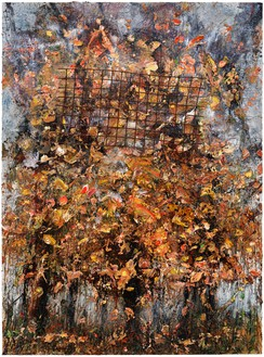 Anselm Kiefer, Schlange (Snake), 2017 Oil, emulsion, acrylic, shellac, gold leaf, clay, and metal on canvas, 149 ⅝ × 110 ¼ × 9 ⅞ inches (380 × 280 × 25 cm)© Anselm Kiefer. Photo: Georges Poncet