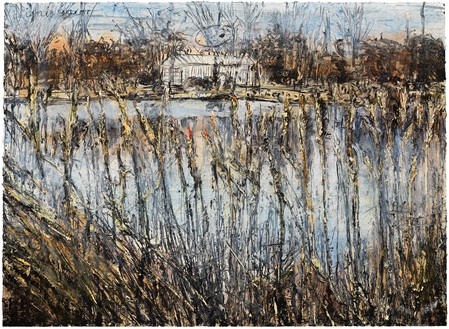 Anselm Kiefer, Ignis sacer, 2016 Oil, acrylic, and emulsion on canvas, 110 ¼ × 149 ⅝ × 3 ⅝ inches (280 × 380 × 9 cm)© Anselm Kiefer. Photo: Georges Poncet