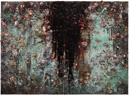 Anselm Kiefer, Aurora, 2015–17 Oil, emulsion, acrylic, shellac, and electrolysis sediment on canvas, 110 ¼ × 149 ⅝ × 3 ⅝ inches (280 × 380 × 9 cm)© Anselm Kiefer. Photo: Georges Poncet