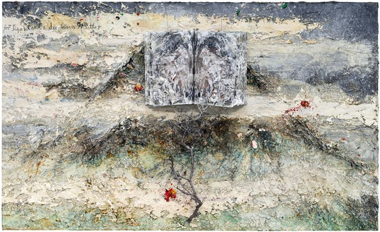Anselm Kiefer, For Segantini: die bösen Mütter (For Segantini: The Bad Mothers), 2011–12 Oil, emulsion, acrylic, shellac, wood, metal, lead, and electrolysis sediment on canvas, 110 ¼ × 181 ⅛ × 21 ⅝ inches (280 × 460 × 55 cm)© Anselm Kiefer. Photo: Georges Poncet