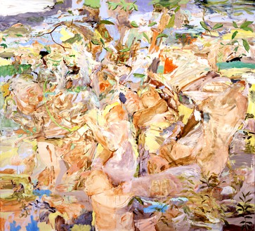 Cecily Brown, Figures in a Landscape, 2001 Oil on canvas, 90 × 100 inches (228.6 × 254 cm)© Cecily Brown
