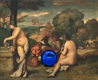 Jeff Koons, Gazing Ball (Titian Pastoral Concert), 2016 Oil on canvas, glass, and aluminum, 60 × 74 × 14 ¾ inches (152.4 × 188 × 37.5 cm)© Jeff Koons. Photo: Fredrik Nilsen