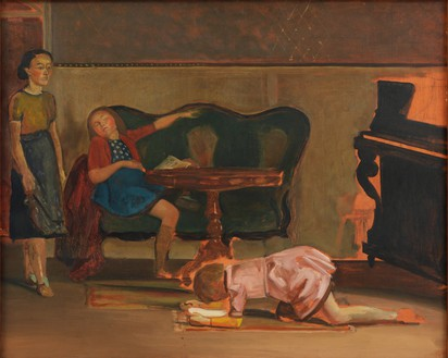 """Balthus, Study for """"The Salon,"""" 1941 Oil on canvas, 25 ⅝ × 31 ⅞ inches (65.1 × 81 cm)© Harumi Klossowska de Rola"""