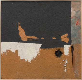 Alberto Burri, N.7, 1954 Oil, acrylic, and Vinavil on Celotex 24 × 24 ⅞ inches (61 × 63 cm)Photo: Ben Blackwell