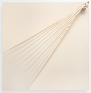 Jorge Eielson, Quipus 19B, 1994 Knotted burlap stretched over panel, 59 × 59 × 7 inches (149.9 × 149.9 × 17.8 cm)