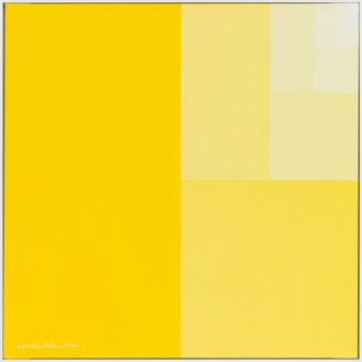 Carsten Höller, Divisions Square (Senegal-yellow Surface), 2017 Caravaggio linen canvas, Flash Vinyl paint, 35 ⅜ × 35 ⅜ inches (90 × 90 cm) © Carsten Höller. Photo: Rob McKeever