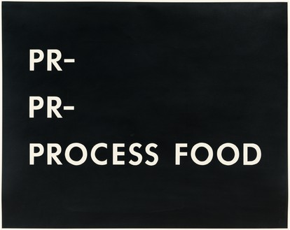 Ed Ruscha, Pr-Pr-Process Food, 1976 Pastel on paper, 23 ⅛ × 29 ⅛ inches (58.7 × 74 cm)© Ed Ruscha