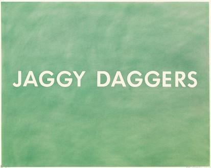 Ed Ruscha, Jaggy Daggers, 1977 Pastel on paper, 22 ⅛ × 29 ⅛ inches (56.2 × 74 cm)© Ed Ruscha