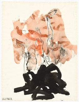 Georg Baselitz, Untitled, 2016 India ink pen, ink brush, and watercolor on paper, 26 ⅛ × 19 ¾ inches (66.4 × 50.1 cm)© Georg Baselitz