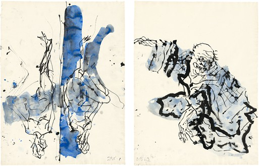 Georg Baselitz, Untitled, 2015 Ink pen, watercolor, and india ink on paper, in 2 parts, left: 26 ⅛ × 19 ¾ inches (66.2 × 50.2 cm), right: 26 ⅛ × 19 ¾ inches (66.3 × 50.2 cm)© Georg Baselitz