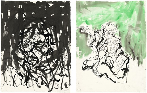Georg Baselitz, Untitled, 2015 Ink pen, watercolor, and india ink on paper, in 2 parts, left: 26 ⅜ × 20 ⅛ inches (66.8 × 51 cm), right: 26 ⅜ × 20 ⅛ inches (66.9 × 50.9 cm)© Georg Baselitz