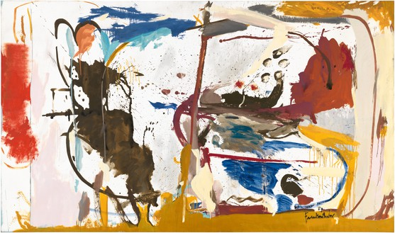 Helen Frankenthaler, First Creatures, 1959 Oil, enamel, charcoal, and pencil on sized, primed linen, 64 ¾ × 111 inches (164.5 × 281.9 cm)© 2017 Helen Frankenthaler Foundation, Inc./Artists Rights Society (ARS), New York. Photo: Rob McKeever