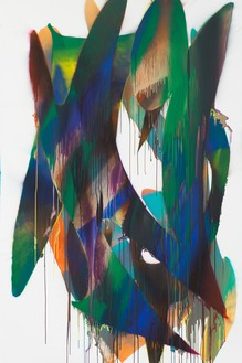 Katharina Grosse, Untitled, 2016 Acrylic on canvas, 118 ⅛ × 78 ¾ inches (300 × 200 cm)© Katharina Grosse und VG Bild-Kunst Bonn, 2017. Photo: Jens Ziehe