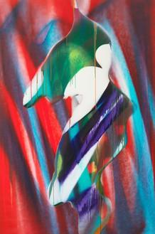 Katharina Grosse, Untitled, 2016 Acrylic on canvas, 114 ⅛ × 76 inches (290 × 193 cm)© Katharina Grosse und VG Bild-Kunst Bonn, 2017. Photo: Jens Ziehe