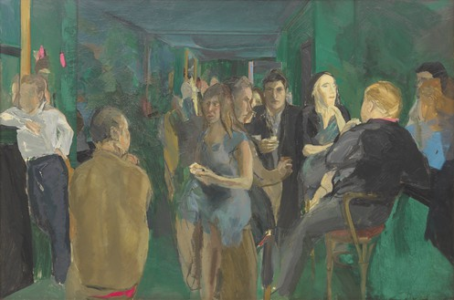 Michael Andrews, The Colony Room I, 1962 Oil on board, 48 × 72 inches (121.9 × 182.8 cm)Collection of Pallant House Gallery© The Estate of Michael Andrews. Courtesy James Hyman Gallery, London. Photo: Mike Bruce