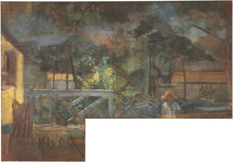 Michael Andrews, The Colony Room Landscape, c. 1959 Oil on canvas, 103 ⅝ × 148 ½ inches (263 × 377 cm)© The Estate of Michael Andrews. Courtesy James Hyman Gallery, London. Photo: Lucy Dawkins