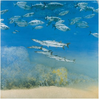 Michael Andrews, School IV: Barracuda under Skipjack Tuna, 1978 Acrylic on canvas, 69 × 69 inches (175.2 × 175.2 cm)© The Estate of Michael Andrews. Courtesy James Hyman Gallery, London