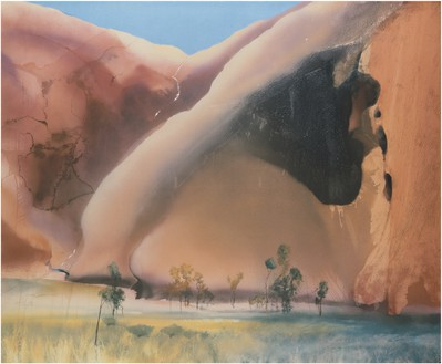 Michael Andrews, Permanent Water Mutidjula, by the Kunia Massif (Maggie Spring, Ayers Rock), 1985–86 Acrylic on canvas, 84 × 102 inches (213.4 × 259.1 cm)© The Estate of Michael Andrews. Courtesy James Hyman Gallery, London