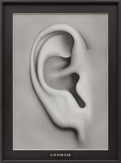 Paul Noble, G Is for Ear, 2016 Pencil and oil on paper, in artist's frame, 94 ¼ × 70 ¼ × 8 ½ inches (239.5 × 178.5 × 21.5 cm)© Paul Noble. Photo: Lucy Dawkins