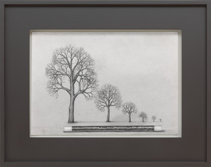 Paul Noble, Landscape with Wand, 2016 Pencil on paper, in artist's frame, 19 × 23 ⅞ × 2 inches (48.3 × 60.8 × 5.1 cm)© Paul Noble. Photo: Mike Bruce