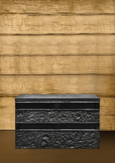 Peter Marino, Rough Stone Box, 2017 Blackened bronze, 33 ⅛ × 50 ⅜ × 20 ⅞ inches (84.2 × 128 × 53 cm), edition of 8 + 4 AP© Peter Marino Architect. Photo: Manolo Yllera
