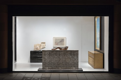 Installation view Artwork, left to right: © Peter Marino Architect, © The Estate of Francis Bacon, © Joe Bradley, © Cy Twombly Foundation. Photo: Lucy Dawkins
