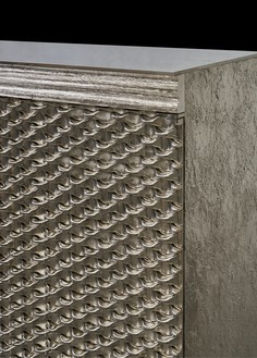 Peter Marino, Tall Dragon Scale Box, 2017 (detail) Silvered bronze, 57 ¾ × 37 ½ × 18 ¼ inches (146.7 × 95.3 × 46.2 cm), edition of 8 + 4 AP© Peter Marino Architect. Photo: Manolo Yllera