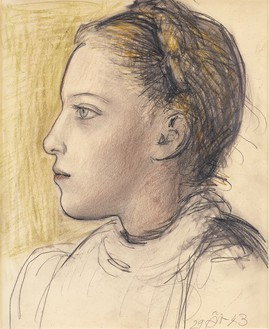 Pablo Picasso, Portrait de Maya de profil, 1943 Graphite, chalk, and pastel on vellum paper from spiral notebook, 14 ⅝ × 12 ¼ inches (37 × 31 cm)© Succession Picasso 2017