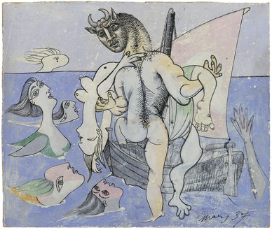 Pablo Picasso, Minotaure dans une barque sauvant une femme, March 1937 (Paris) India ink and gouache on paperboard, 8 ⅝ × 10 ⅝ inches (22 × 27 cm)© Estate of Pablo Picasso/Artists Rights Society (ARS), New York. Photo: Eric Baudouin