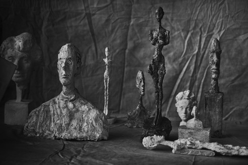 Peter Lindbergh, Alberto Giacometti, Group of Nine, Zurich, 2016, 2016 Hahnemuhle Photo Rag® Baryta 315 grs, 23 ⅝ × 35 ⅜ inches (60 × 90 cm)© Peter Lindbergh, © Succession Alberto Giacometti (Fondation Giacometti + ADAGP), Paris 2017