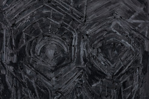 Thomas Houseago, Black Painting 5, 2016 (detail) Oil on canvas mounted on board, 108 × 72 inches (274.3 × 182.9 cm)© Thomas Houseago. Photo: Fredrik Nilson