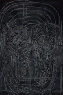 Thomas Houseago, Black Painting 8, 2016 Oil on canvas mounted on board, 108 × 72 inches (274.3 × 182.9 cm)© Thomas Houseago. Photo: Fredrik Nilson