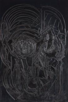 Thomas Houseago, Black Painting 3, 2016 Oil on canvas mounted on board, 108 × 72 inches (274.3 × 182.9 cm)© Thomas Houseago. Photo: Fredrik Nilson