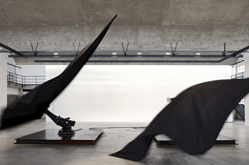 Installation view with Black Flags (2014) Artwork © William Forsythe. Photo: Thomas Lannes