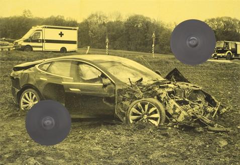 Adam McEwen, TBT (Cymbals), 2018 Inkjet print on cellulose sponge and graphite, 76 × 110 × 4 ¼ inches (193 × 279.4 × 10.8 cm)© Adam McEwen. Photo: Jeff McLane