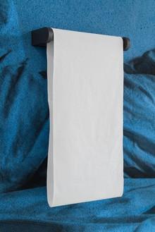Adam McEwen, TBT (Towel Holder), 2018 (detail) Inkjet print on cellulose sponge, graphite, and cotton, 59 ⅞ × 90 × 7 ¼ inches (152.1 × 228.6 × 18.4 cm)© Adam McEwen. Photo: Jeff McLane