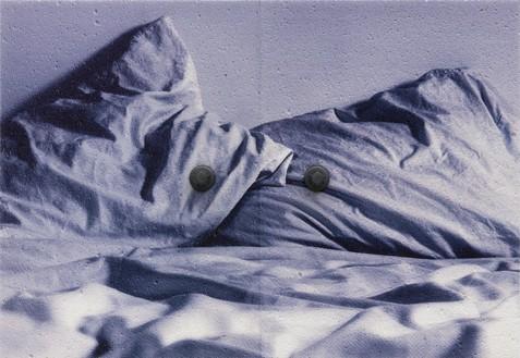 Adam McEwen, TBT (Small Bed), 2018 Inkjet print on cellulose sponge and graphite, 37 × 53 ½ × 4 ½ inches (94 × 135.9 × 11.4 cm)© Adam McEwen. Photo: Jeff McLane