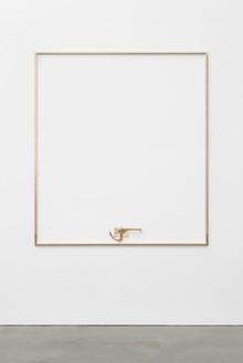 Adam McEwen, CLEAN ME, 2018 Brass, 90 × 80 × 2 ½ inches (228.6 × 203.2 × 6.4 cm)© Adam McEwen. Photo: Jeff McLane