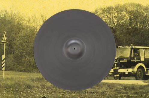 Adam McEwen, TBT (Cymbals), 2018 (detail) Inkjet print on cellulose sponge and graphite, 76 × 110 × 4 ¼ inches (193 × 279.4 × 10.8 cm)© Adam McEwen. Photo: Jeff McLane