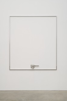 Adam McEwen, HOWS MY DRIVING, 2018 Stainless steel, 94 × 83 × 1 ¾ inches (238.8 × 210.8 × 4.4 cm)© Adam McEwen. Photo: Jeff McLane