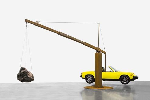 Chris Burden, Porsche with Meteorite, 2013 Restored 1974 Porsche 914, 390-pound meteorite, and steel structure© Chris Burden/Licensed by the Chris Burden Estate and Artists Rights Society (ARS), New York