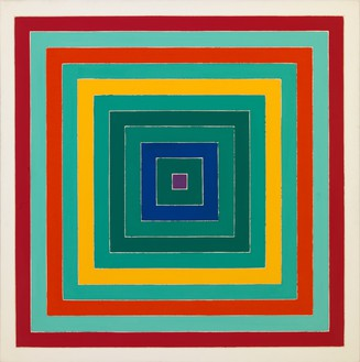Frank Stella, D. Scramble: Ascending Green Values/Ascending Spectrum, 1978 Acrylic on canvas, 69 × 69 inches (175.3 × 175.3 cm)© ADAGP, Paris 2018