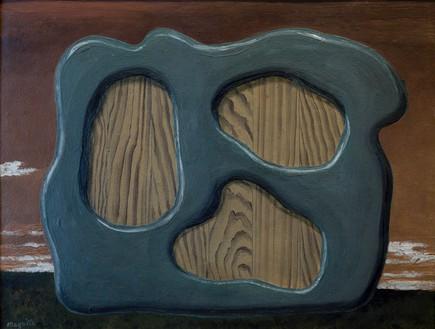 René Magritte, Le Démon de la Perversité (ou L'Ombre Monumentale), 1929 Oil on cardboard, 10 ⅝ × 13 ¾ inches (27 × 35 cm)© 2018 C. Herscovici, Brussels/Artists Rights Society (ARS), New York
