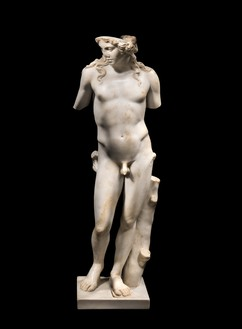 Unknown artist, statue depicting a young man, probably the god Apollo, 2nd century AD White marble, 28 ½ × 9 ⅞ × 9 ⅞ inches (72.3 × 24 × 21 cm)