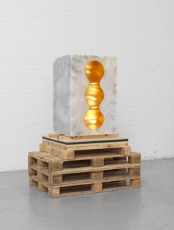 Anish Kapoor, Chamber 3, 2016 Alabaster, gold leaf, and pencil, 37 ⅜ × 24 × 22 ⅞ inches (95 × 61 × 58 cm)© Anish Kapoor/DACS, London 2018