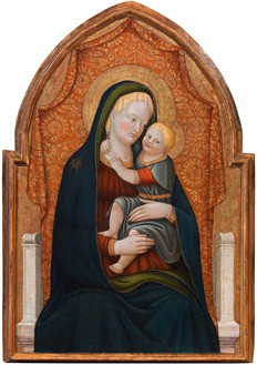 Paolo Schiavo, Madonna con Bambino in Trono, c. 1440–45 Oil on panel, 41 × 27 ¼ inches (104.5 × 69 cm)